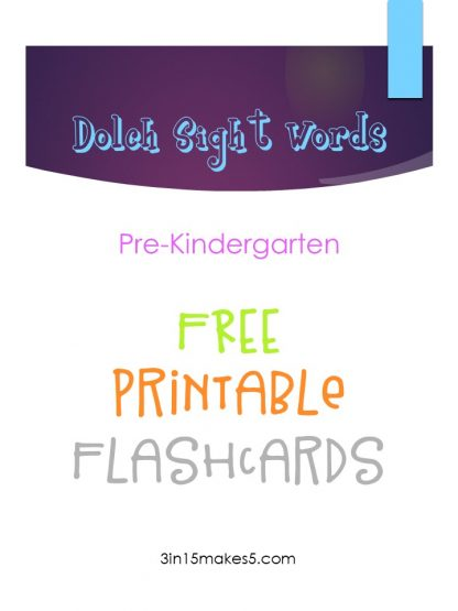 Dolch Sight Words Flashcards – Pre-Kindergarten
