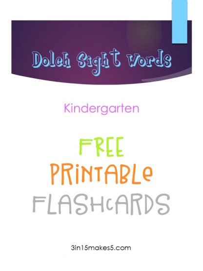 Dolch Sight Words Flashcards – Kindergarten