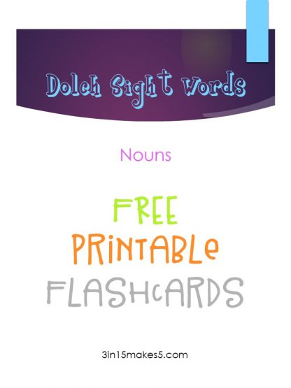 Dolch Sight Words Flashcards – Nouns