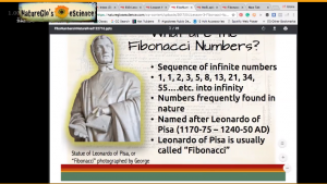 Screenshot of class slide on Fibonacci numbers