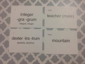 sample of flashcards